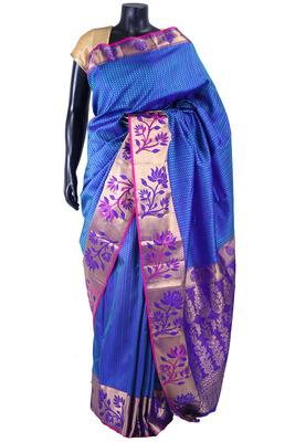 Royal blue pure silk weaved saree in multi colour border-SR5353