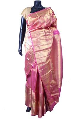 Pink pure silk zari weaved saree in golden border & pallu-SR5610
