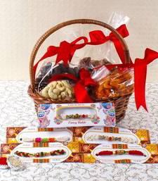 Buy Five Beads Rakhi with Assorted Cashew Combo rakhi-with-sweet online