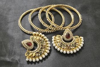New Ram Leela Maroon & Green Colour Earrings with Gold Plated Bangles 4pcs set