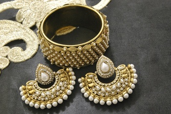 New Ram Leela Pearl Earrings with Gold Plated Pearl Kada