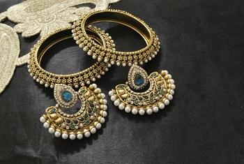 New Ram Leela Rama Green colour Earrings with Gold Plated Bangles