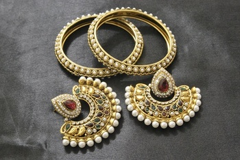 New Ram Leela Maroon & Green Colour Earrings with Gold Plated Bangles