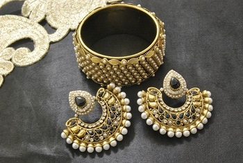 New Ram Leela Black colour Earrings with Gold Plated Moti Kada