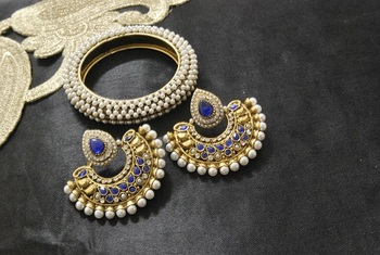 New Ram Leela Blue colour Earrings with Gold Plated Kada studded with Pearl