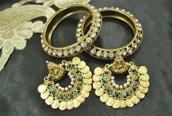 Ram Leela Maroon & Green colour Earrings with Stone Bangles