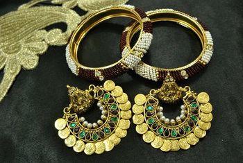 Ram Leela Maroon & Green colour Earrings with Gold Plated Beaded Bangles set