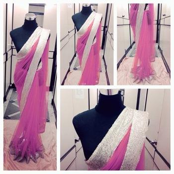 Pink net saree