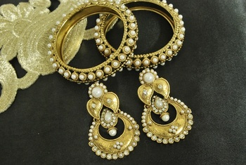 Long Pearl Earrings & Gold Plated Kada with Pearl