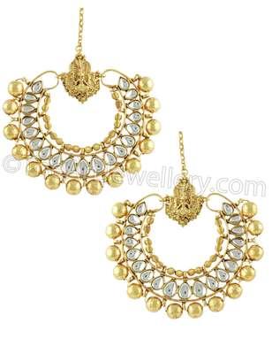 Ram Leela Golden Temple Dangle Earrings Jewellery for Women - Orniza