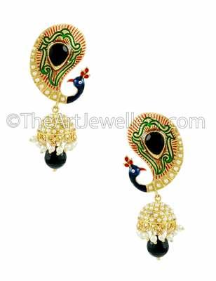Peacock Black Traditional Rajwadi Jhumki Earrings Jewellery for Women - Orniza