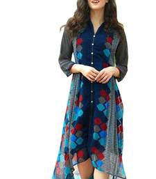 Buy Blue printed georgette stitched long-kurtis long-kurti online
