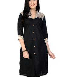 Buy Black plain cotton stitched kurtas-and-kurtis kurtas-and-kurtis online