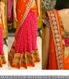 Buy Orange embroidered georgette saree with blouse black-friday-deal-sale online