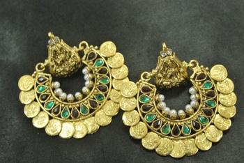 Ram Leela Maroon & Green colour Earrings