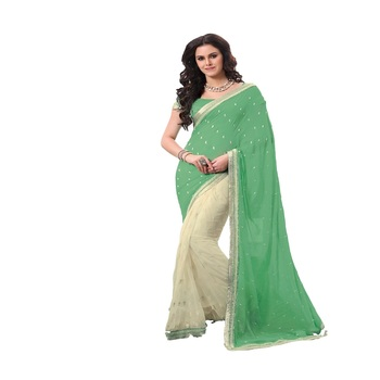 Cream and green Georgette Designer Saree With Blouse Piece