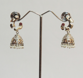 Silver Antique Pearl Jhaalar Jhumka or Jhumki