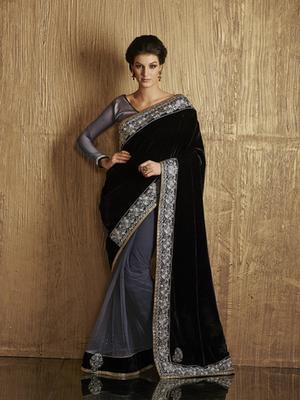 Royal Black Velvet Designer Saree