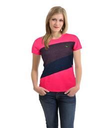 Buy Women   s Front Cut & Sew Panel T-Shirt Pink Melange party-top online