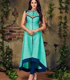 Buy Sky blue plain stitched silk-kurtis silk-kurti online