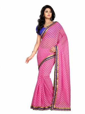 Style Pink color Royal brasso all over design saree.