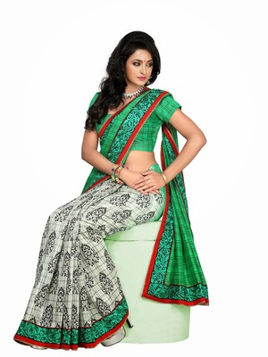Style Green half and white half printed saree.