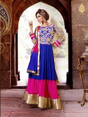 Blue Color Designer Suit On Georgette Fabric This Suit Has Resham Thread Zari