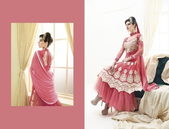 pink color heavy embroided semistitched designer anarkali suit