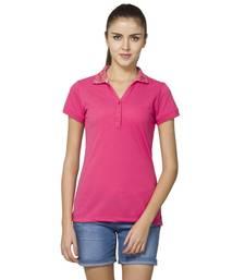 Buy Women pink piquet solid t shirt party-top online