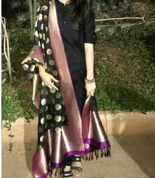 Buy Black printed silk salwar with dupatta wedding-season-sale online