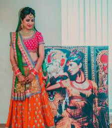 Buy Orange embroidered silk unstitched lehenga with dupatta lehenga-below-2000 online