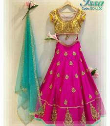 Buy Pink embroidered silk semi stitched lehenga with dupatta lehenga-below-2000 online