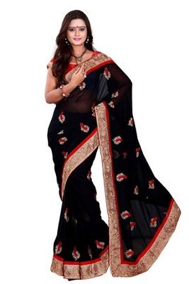 Aesha designeChiffon  Black Saree With Matching Blouse