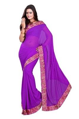 Aesha designerChiffon purple saree with matching blouse