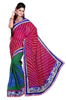 Aesha designerBrasso multicolor half half saree with matching blouse