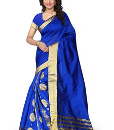 Buy Blue printed tussar silk saree with blouse Woman online