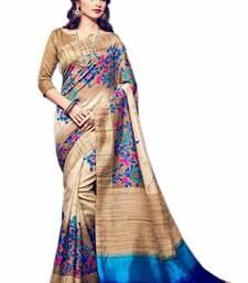 Buy Beige printed bhagalpuri saree with blouse below-1500 online