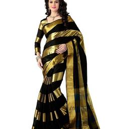 Buy Black  Solid Cotton Silk Saree With blouse party-wear-saree online