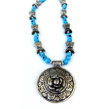 Flower Pendant necklace: Blue/JW-012Blue