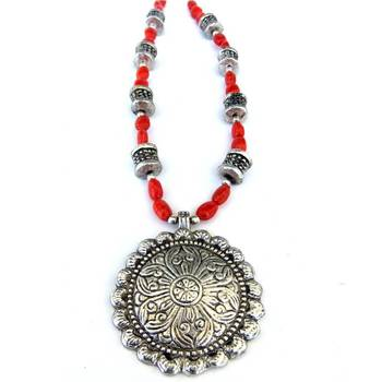 Sun Pendant necklace: Red/027
