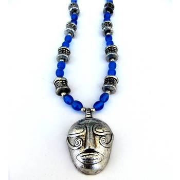 Tribal Necklace:Blue/001Blue