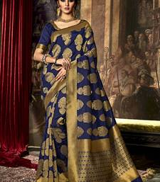 Buy Navy blue woven poly cotton saree with blouse south-indian-saree online