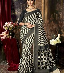 Buy Multicolor printed poly cotton saree with blouse south-indian-saree online