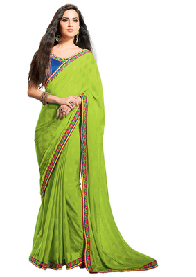 Georgette Green Colored Saree.With Blouse