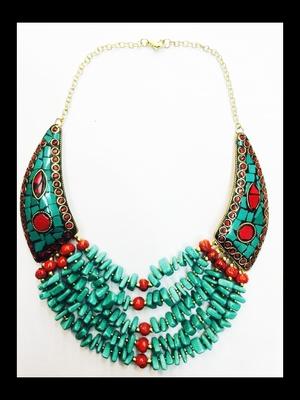 Tibetan Blue Traditional Enamel Choker Collar Necklace