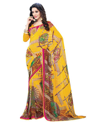 Party Wear Georgette Printed SareeWith Blouse