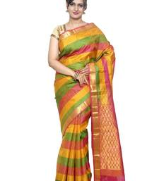 Buy Multicolor silk saree with blouse hand-woven-saree online