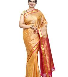 Buy Gold silk saree with blouse hand-woven-saree online