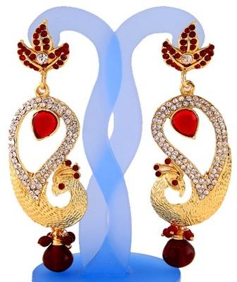 Pretty Maroon Peacock Earrings