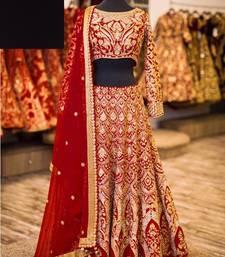 Buy Maroon embroidered silk unstitched lehenga with dupatta lehenga online
